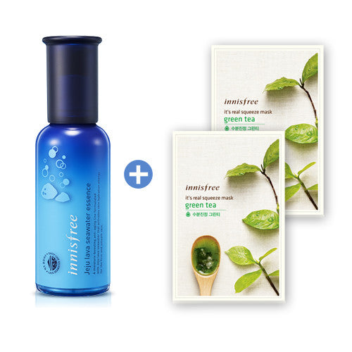 [SET] [Innisfree] Jeju Lava Seawater Essence + It's Real Squeeze Green Tea Mask x 2PCS (Free Gift) - Cosmetic Love