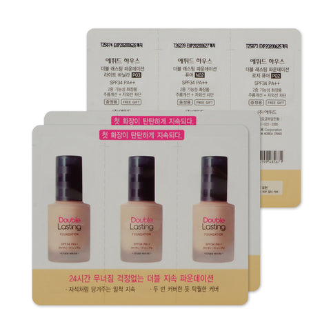 [Sample] [Etude House] Double Lasting Foundation SPF34 PA+++ #01 P03 Light Vanilla&N02 Pure&P02 Rosy Pure x 3PCS