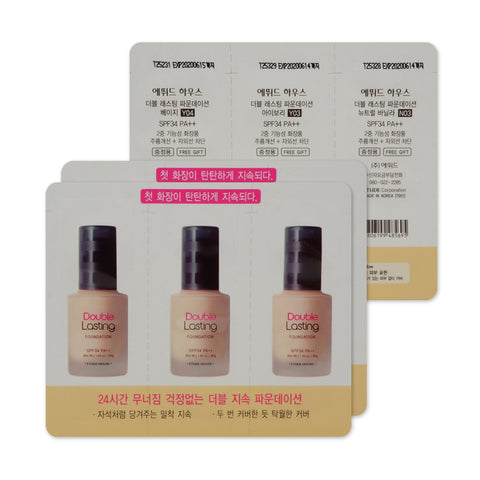 [Sample] [Etude House] Double Lasting Foundation SPF34 PA+++ #02 Y04 Beige&Y03 Ivory&N03 Neutral Vanilla x 3PCS