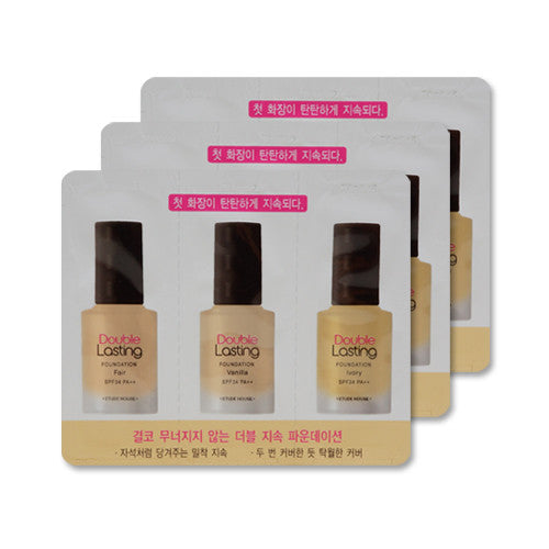 [Sample] [Etude House] Double Lasting Foundation SPF34 PA++ #Fair & Vanilla & Ivory x 3PCS - Cosmetic Love