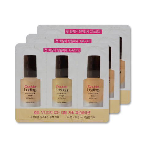 [Sample] [Etude House] Double Lasting Foundation SPF34 PA++ #Petal & Beige & Sand x 3PCS - Cosmetic Love