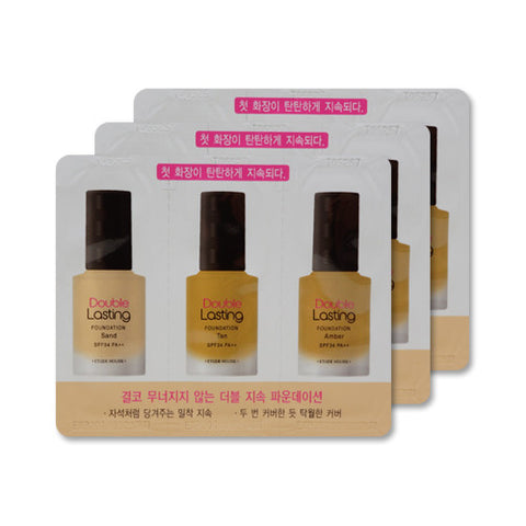 [Sample] [Etude House] Double Lasting Foundation SPF34 PA++ #Sand & Tan & Amber x 3PCS - Cosmetic Love