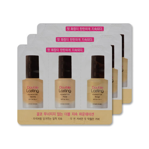 [Sample] [Etude House] Double Lasting Foundation SPF34 PA++ #Vanilla & Petal & Beige x 3PCS - Cosmetic Love