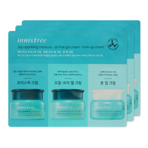[Sample] [Innisfree] Jeju Sparkling Moisture Cream & Oil Free Gel Cream & Tone Up Cream x 3PCS - Cosmetic Love