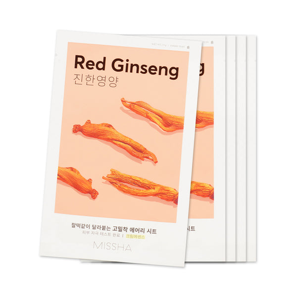 [Sample] [Missha] Airy Fit Sheet Mask #Red Ginseng x 5PCS