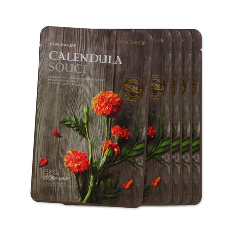[Sample] [The Face Shop] Real Nature Mask Sheet #Galendula x 5PCS - Cosmetic Love