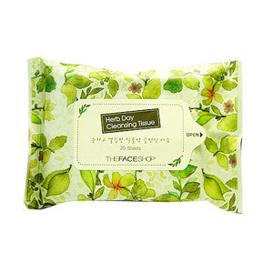 [The Face Shop] Herb Day Cleansing Tissue (20Sheets) - Cosmetic Love