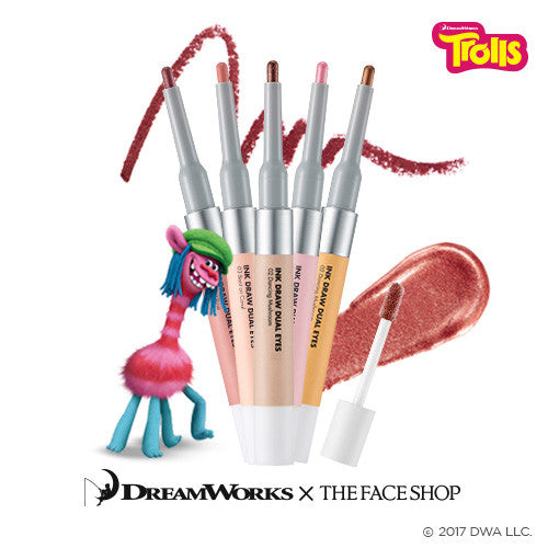 [The Face Shop] Ink Draw Dual Eyes (Trolls Edition) 0.6g+3.5g - Cosmetic Love
