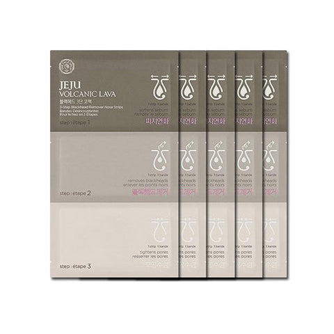 [The Face Shop] Jeju Volcanic Lava 3-Step Blackhead Remover Nose Strips x 5PCS - Cosmetic Love