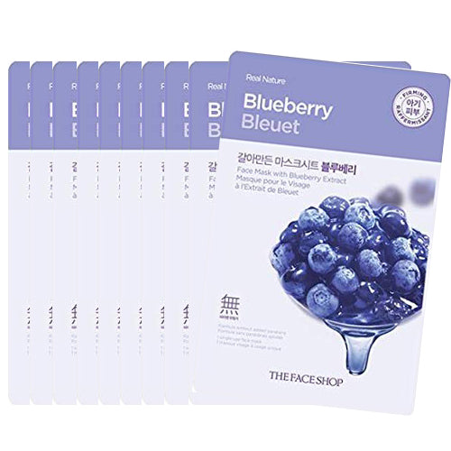 [The Face Shop] Real Nature Mask Sheet 20g #BlueBerry x 10pcs