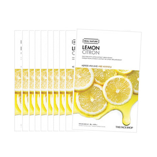 [The Face Shop] Real Nature Mask Sheet 20g #Lemon x 10pcs