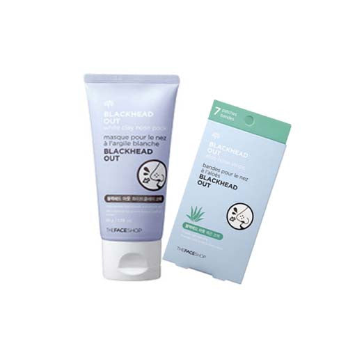 [Set][The Face shop] Blackhead Out White Clay Nose Pack 50g + Blackhead Out Aloe Nose Strip 7ea - Cosmetic Love