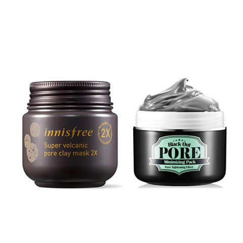 [Innisfree] Super Volcanic Pore Clay Mask 2X 100ml + [Secret Key] Black Out Pore Minimizing Pack 100g
