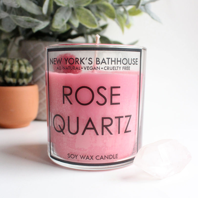 Rose Quartz Healing Crystal Soy Wax Candle - New York's Bathhouse