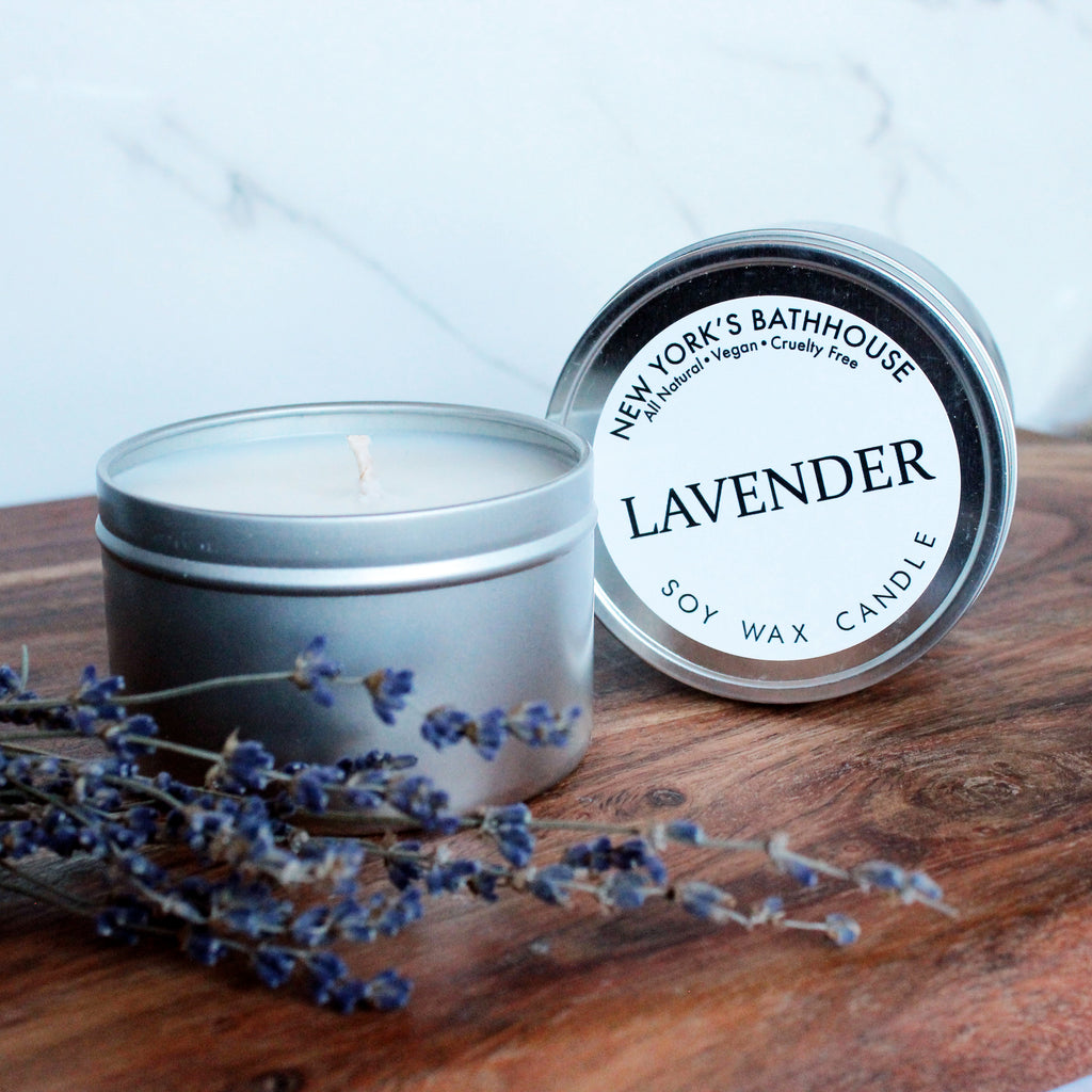 Lavender Soy Wax Tin Candle - New York's Bathhouse