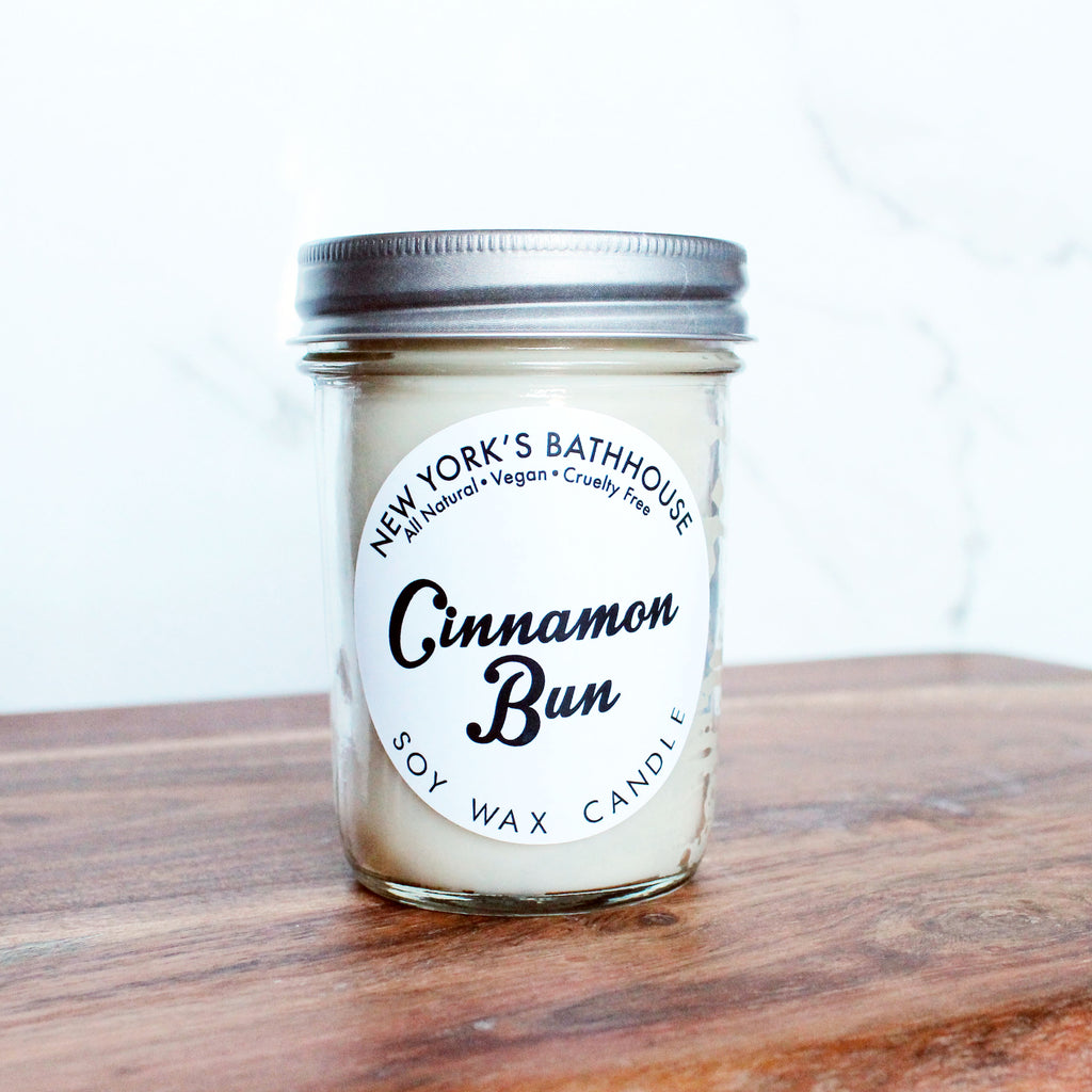 Cinnamon Bun Soy Wax Candle - New York's Bathhouse