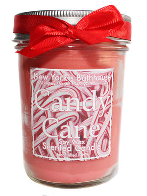 Candy Cane Mason Jar Soy Wax Candle - New York's Bathhouse