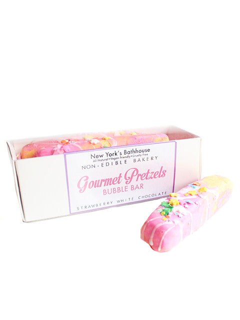 Strawberry White Chocolate Cover Pretzels Bubble Bars - New York's Bathhouse