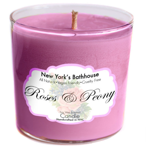Roses & Peony Soy Wax Candle - New York's Bathhouse