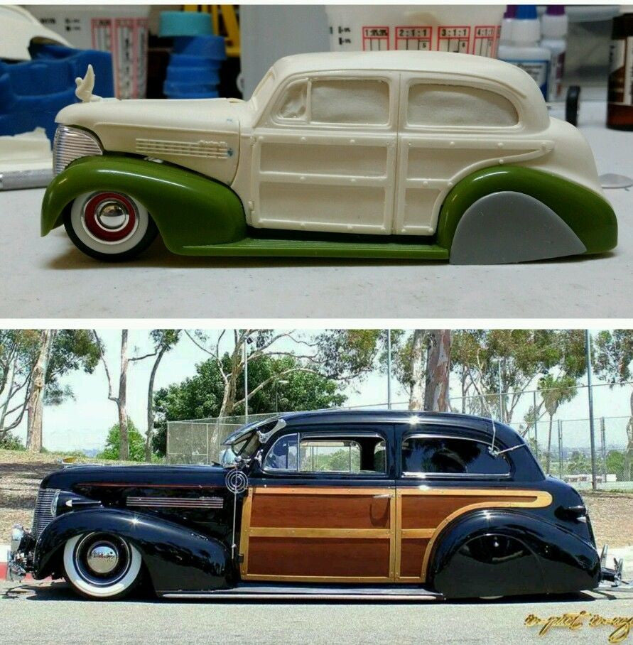 Resin cast 1939 chevy 2 door sedan woody body