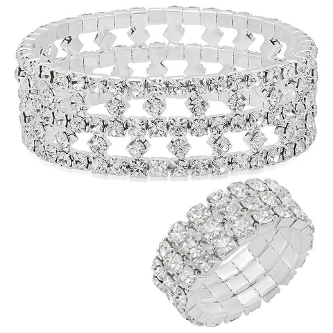 Steeltime Ladies Alloy Stretch Bracelet & Ring Set