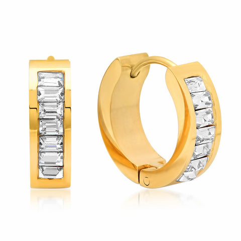 Steeltime Ladies 18K Gold Plated Emerald Huggie Earrings