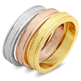Steeltime Tri Color Set Of Three Wedding Band Rings