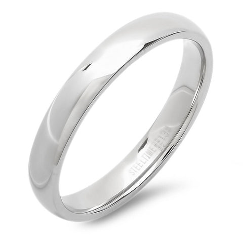 Unisex Stainless Steel Slim Wedding Band Ring in Silver-Tone