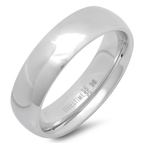 Unisex Stainless Steel Wide Wedding Band Ring in Silver-Tone