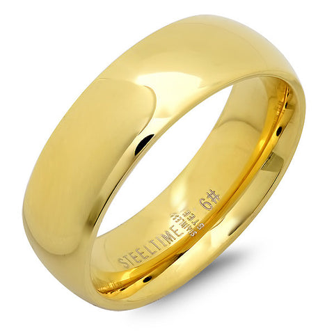 Unisex Stainless Steel Wide Wedding Band Ring in 18 KT Gold Plated