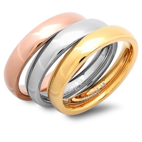 Tricolor set of 3 Stainless Steel Rings