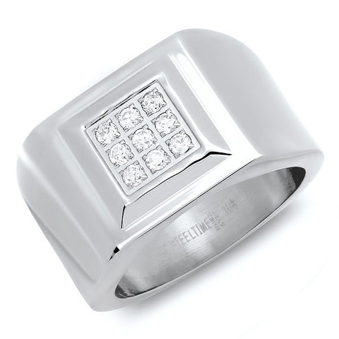 Stainless Steel Square Center Ring With Simulated Diamonds
