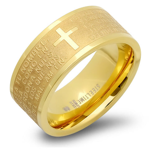 "18KT Gold Plated Stainless Steel Prayer ""Padre Nuestro"" Ring"