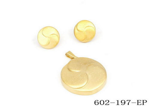 Women's Stud Earrings & Pendant in 18 CT Gold Plated Moon Design set