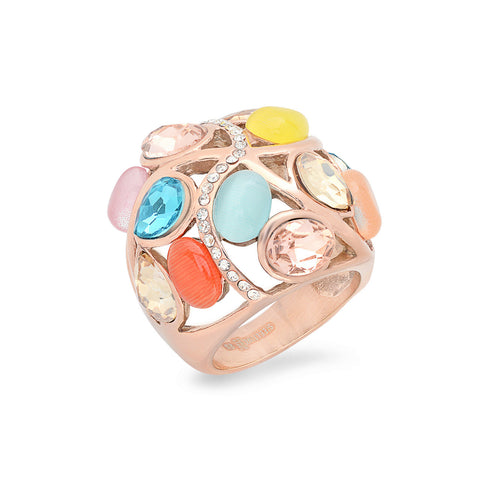 Ladies Stainless Steel Cocktail Ring in 18 KT Rose Gold Plated with Muti-Color Stones and Simulated Diamonds Design