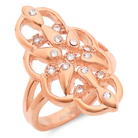 Ladies 18 KT Rose Gold Plated Cocktail Ring w/Simulated Diamonds