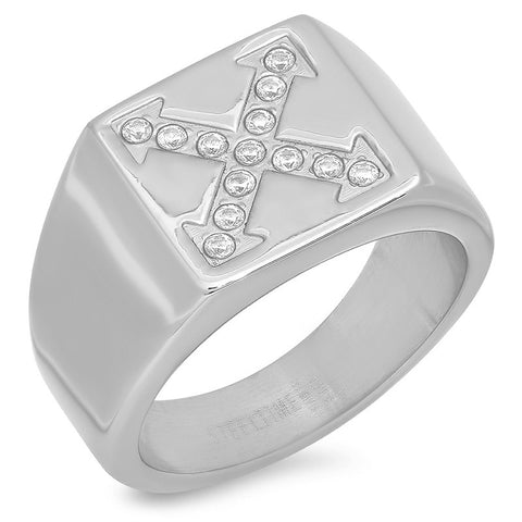 "Men's Stainless Steel ""X"" Ring with Cubic Zirconia"
