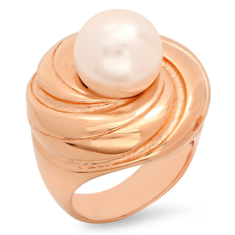 Ladies 18kt Rose Gold Plated Stainless Steel Ring with Simulated Pearl