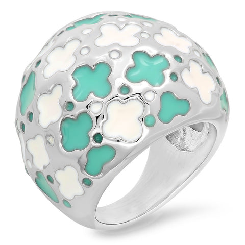 Ladies Stainless Steel Ring with Flowers Design