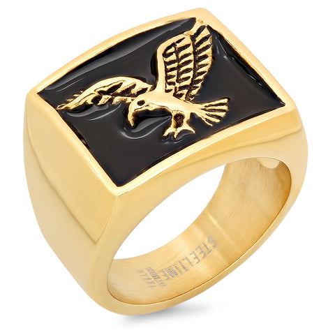 Men's 18kt Gold Plated Stainless Steel Eagle Ring