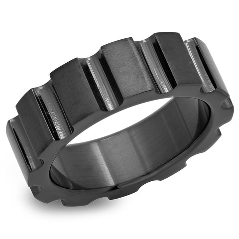 Men's Stainless Steel Black IP Ring