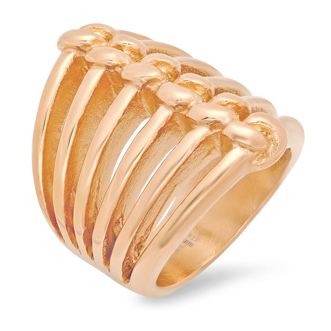Ladies 18k Rose Gold Plated Stainless Steel Ring