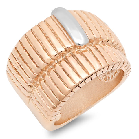 Ladies 18kt Rose Gold Stainless Steel Ring