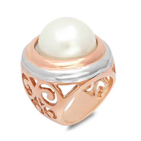 18kt Rose Gold Stainless Steel Simulated Pearl Ring