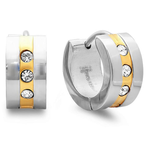 Steeltime Ladies Two-Tone Huggie Earrings With CZ Stones
