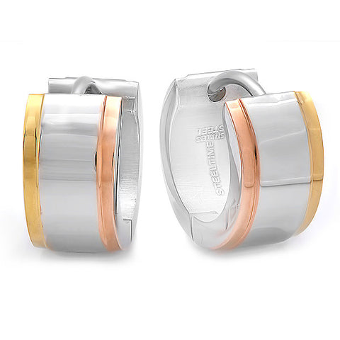 Ladies Stainless Steel Mulit-Colored Huggie Earrings