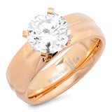 Ladies 18 KT Rose Gold Plated Engagment Ring With Simulated Diamond