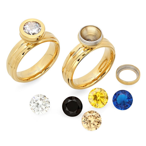 18k gold plated engagement ring with interchangeable cz