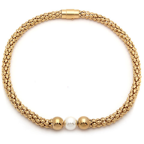 18 KT Gold Plated Italian Accent Necklace with Pearl