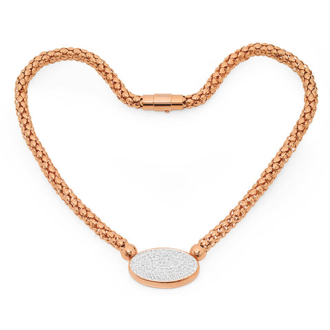 Ladies 18kt Rose Gold Plated Stainless Steel Stretch Necklace